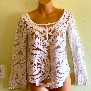 Stunning boho brocade and mesh top